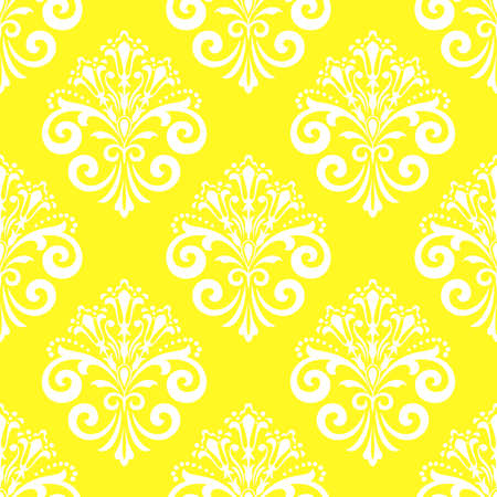 Wallpaper in the style of Baroque. Seamless vector background. White and yellow floral ornament. Graphic pattern for fabric, wallpaper, packaging. Ornate Damask flower ornament