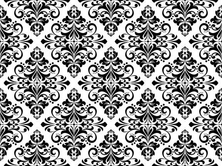 Floral pattern. Vintage wallpaper in the Baroque style. Seamless vector background. White and black ornament for fabric, wallpaper, packaging. Ornate Damask flower ornament Illusztráció