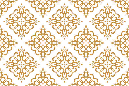 Tapete im Barockstil. Nahtloser Vektorhintergrund. Weißes und goldenes Blumenornament. Grafikmuster für Stoff, Tapete, Verpackung. Verzierte Damastblumenverzierung