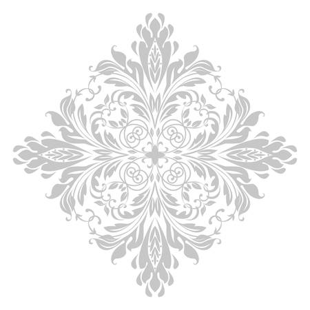 Damask graphic ornament. Floral design element. White and grey vector pattern.