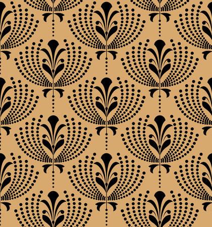 Blumenmuster. Nahtlose Schwarz- und Goldverzierung. Grafischer Vektorhintergrund. Ornament für Stoff, Tapete, Verpackung