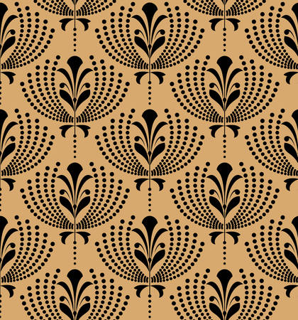 Flower pattern. Seamless black and gold ornament. Graphic vector background. Ornament for fabric, wallpaper, packaging