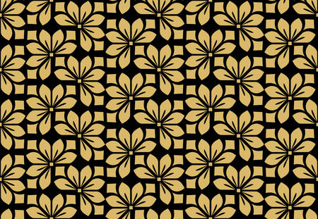 Flower geometric pattern. Seamless vector background. Black and gold ornament. Ornament for fabric, wallpaper, packaging. Decorative print