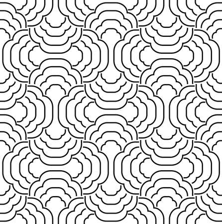 The geometric pattern with wavy lines. Seamless background. White and black texture