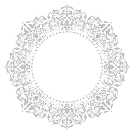 Cornice decorativa Elegante elemento vettoriale per il design in stile orientale, luogo per il testo. Bordo grigio floreale. Illustrazione di pizzo per inviti e biglietti di auguri