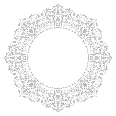 Decorative frame Elegant vector element for design in Eastern style, place for text. Floral grey border. Lace illustration for invitations and greeting cards Vettoriali