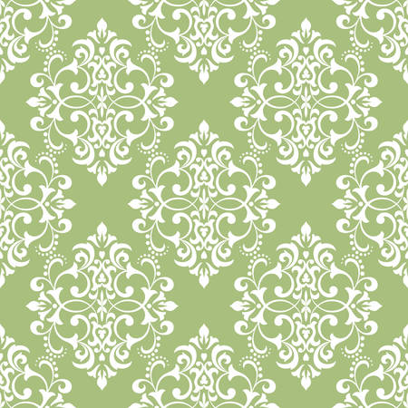 Wallpaper in the style of Baroque. Seamless vector background. White and green floral ornament. Graphic pattern for fabric, wallpaper, packaging. Ornate Damask flower ornament