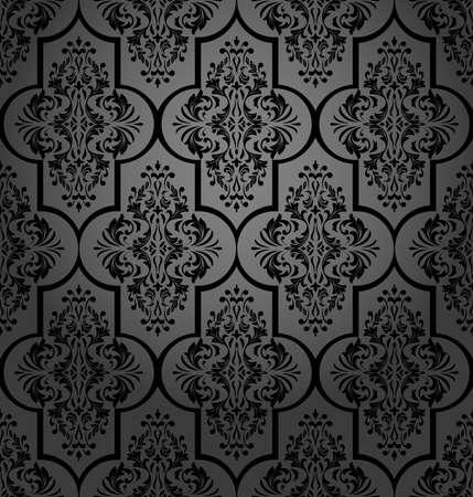 Floral pattern. Wallpaper baroque, damask. Seamless background. Black ornament.