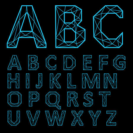 Alphabet Set. Neon letters on a black background.