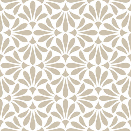 Flower geometric pattern. Seamless background. White and beige ornament