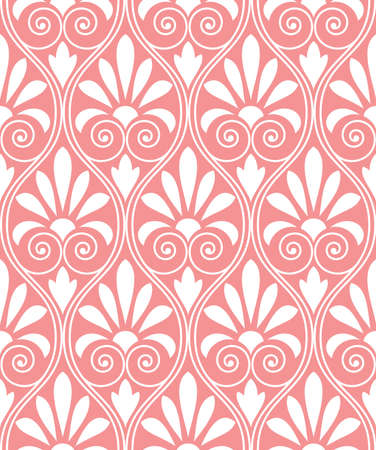 Floral pattern. Wallpaper baroque, damask. Seamless background. White and pink ornament