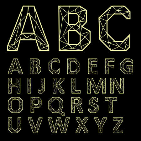 Alphabet Set. Golden letters on a black background