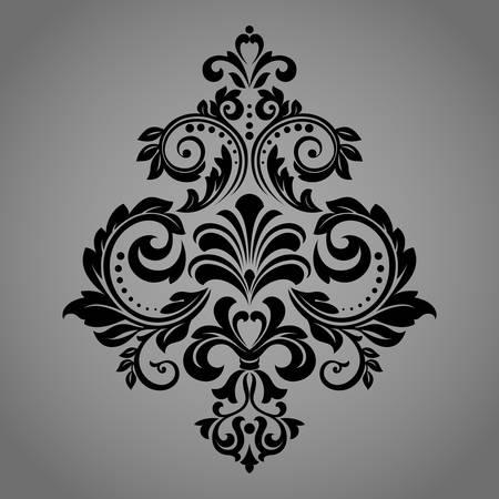 Damask graphic ornament. Floral design element. Black vector pattern