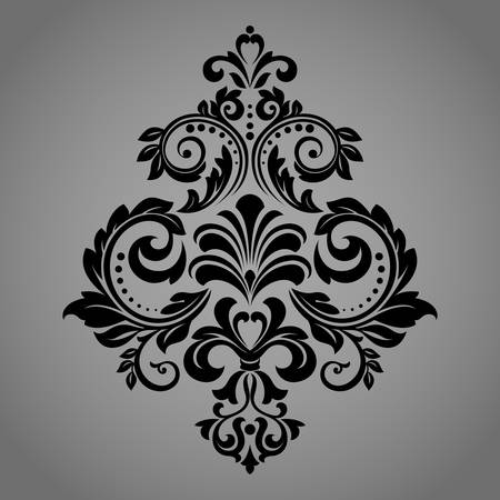 Damask graphic ornament. Floral design element. Black vector pattern