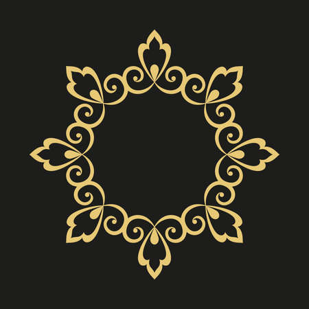 Decorative frame. Elegant element for design in Eastern style, place for text. Golden outline floral border. Lace illustration for invitations and greeting cards