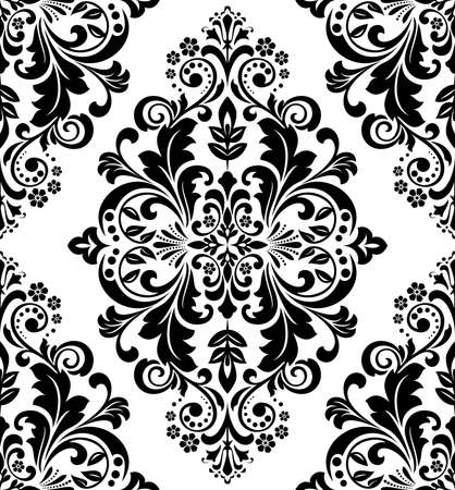 Damask seamless floral pattern. Royal wallpaper. Black flowers on a transparent background