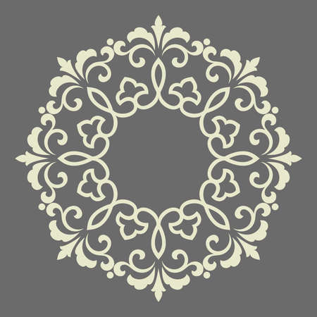 Decorative frame Elegant vector element for design in Eastern style, place for text. Floral grey border. Lace illustration for invitations and greeting cards
