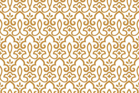 Floral pattern. Vintage wallpaper in the Baroque style. Seamless background. White and gold ornament for fabric, wallpaper, packaging. Ornate Damask flower ornament