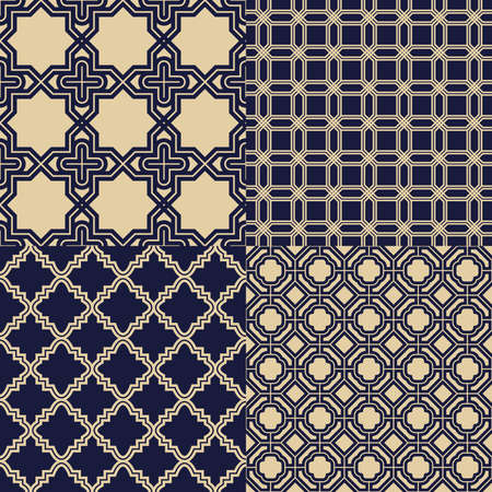 Set monochrome geometrical patterns. Gold and blue grille texture in Arabic, Oriental style. A seamless background.