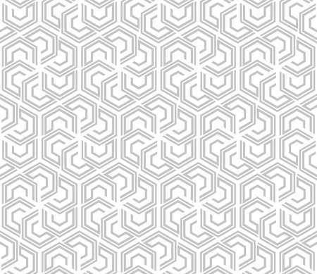 Abstract geometric pattern with lines, hexagons. A seamless background. White and gray texture. Stylish graphic pattern.