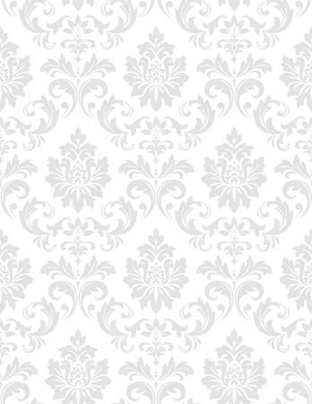 Wallpaper in the style of Baroque. A seamless background. White and grey floral ornament. Graphic pattern for fabric, wallpaper, packaging. Ornate Damask flower ornament.