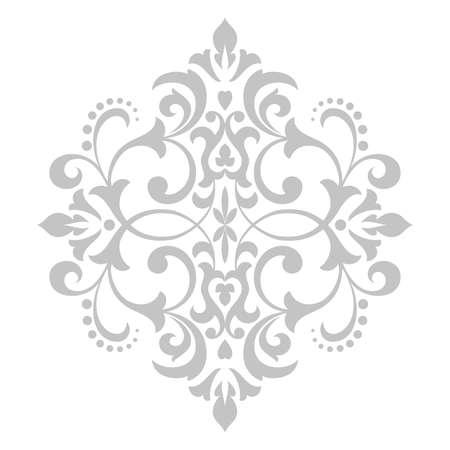 Ornement graphique damassé. Élément de design floral. Modèle vectoriel gris Vecteurs