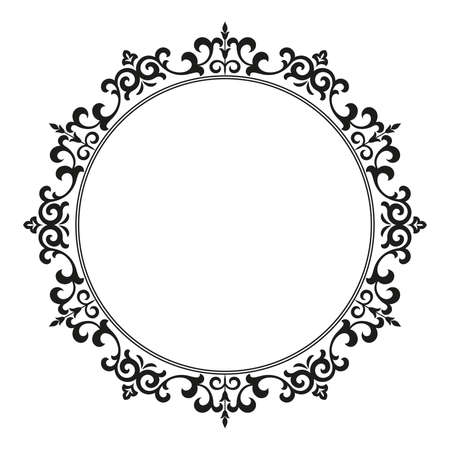 Decorative frame. Elegant element for design in Eastern style, place for text. Floral black border. Lace illustration for invitations and greeting cards Standard-Bild