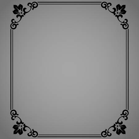 Decorative frame Elegant element for design in Eastern style, place for text. Floral black border. Lace illustration for invitations and greeting cards Ilustración de vector