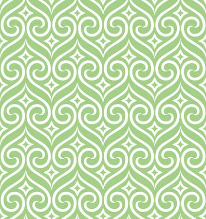 Abstract geometric pattern.  White and green ornament. Graphic modern pattern. Simple lattice graphic design Illustration