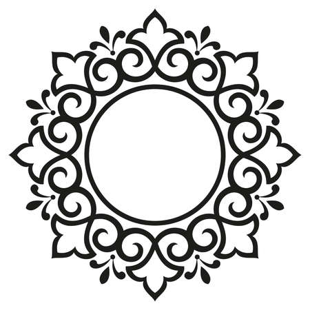 Decorative frame. Elegant element for design in Eastern style, place for text. Floral black border. Lace illustration for invitations and greeting cards 免版税图像