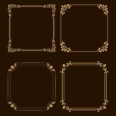 Vintage set of decorative frames. Graphic design in vintage style. Archivio Fotografico