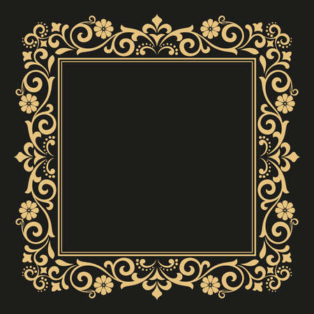 Decorative line art frames for design template. Elegant element for design in Eastern style, place for text. Golden outline floral border. Lace illustration for invitations and greeting cards. Foto de archivo