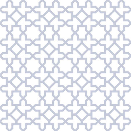 Abstract geometry pattern in Arabian style. Seamless background. White and blue graphic ornament. Simple lattice graphic design