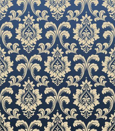 Tapete im Stil des Barock. Ein nahtloser Hintergrund. Blaue und goldene Blumenverzierung. Grafisches Muster für Stoff, Tapete, Verpackung. Verzierter Damast-Blumenschmuck