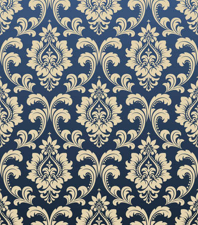 Wallpaper in the style of Baroque. A seamless background. Blue and gold floral ornament. Graphic pattern for fabric, wallpaper, packaging. Ornate Damask flower ornament