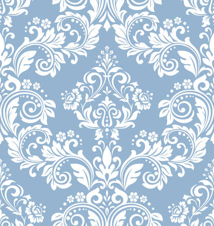 Floral pattern. Vintage wallpaper in the Baroque style. Seamless background. White and blue ornament for fabric, wallpaper, packaging. Ornate Damask flower ornament