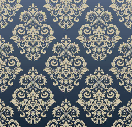 Floral pattern. Vintage wallpaper in the Baroque style. Seamless background. Blue and gold ornament for fabric, wallpaper, packaging. Ornate Damask flower ornament Standard-Bild - 111406352