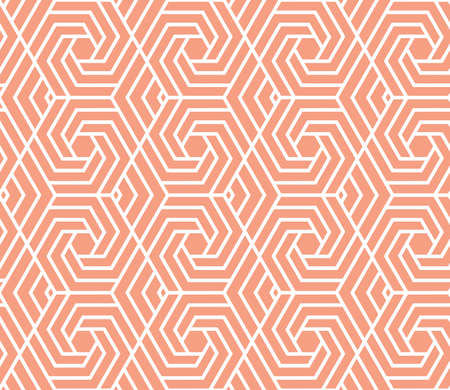 Abstract geometric pattern with stripes, lines. Seamless vector background. White and pink ornament. Simple lattice graphic design Illustration