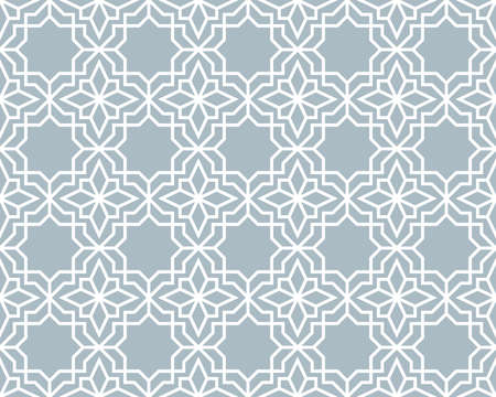 Abstract geometry pattern in Arabian style. Seamless vector background. White and blue graphic ornament. Simple lattice graphic design Illustration