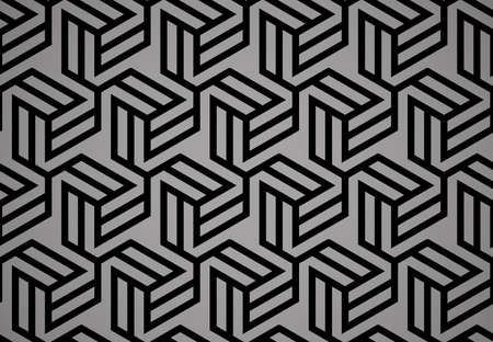 Abstract geometric pattern with stripes, lines. Seamless vector background. Black and grey ornament. Simple lattice graphic design Illustration