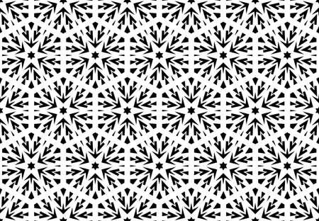 Reticolo geometrico astratto con linee, fiocchi di neve. Uno sfondo vettoriale senza soluzione di continuità. Trama bianca e nera. Motivo grafico moderno.