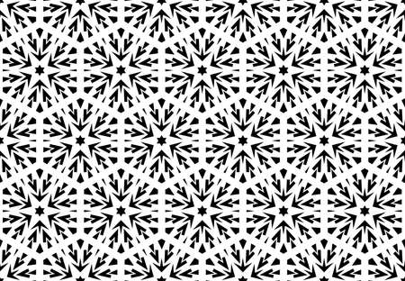 Abstract geometric pattern with lines, snowflakes. A seamless vector background. White and black texture. Graphic modern pattern.