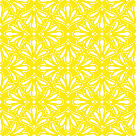 Flower geometric pattern. Seamless background. White and yellow ornament. Ornament for fabric, wallpaper, packaging, Decorative print 版權商用圖片