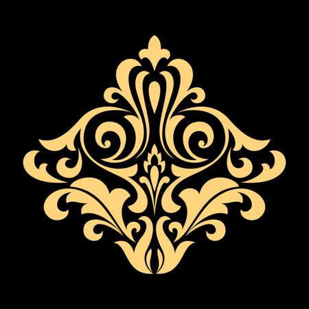 Golden pattern on a black background. Damask graphic ornament. Floral design element.