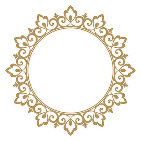 Cadre décoratif. Élément élégant pour la conception dans le style oriental, place pour le texte. Bordure dorée florale. Illustration de dentelle pour les invitations et les cartes de voeux.