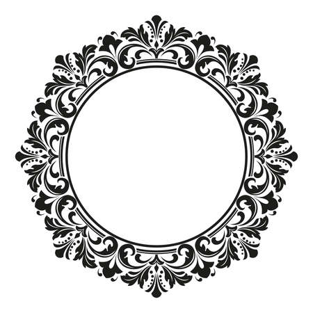 Decorative frame. Elegant element for design in Eastern style, place for text. Floral black border. Lace illustration for invitations and greeting cards 版權商用圖片