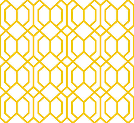 Abstract geometry pattern in Arabian style. Seamless background. White and gold graphic ornament. Simple lattice graphic design Standard-Bild