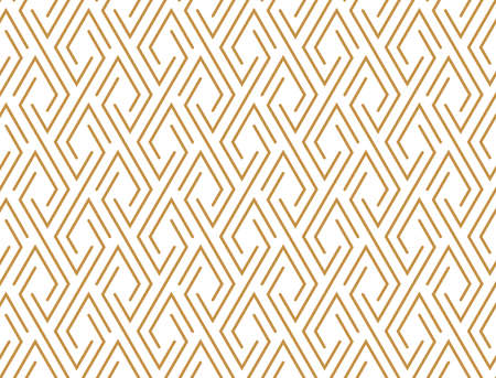 Abstract geometric pattern with stripes, lines. Seamless background. White and gold ornament. Simple lattice graphic design Stock Photo