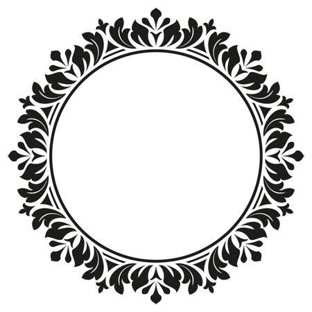 Decorative frame. Elegant element for design in Eastern style, place for text. Floral black border. Lace illustration for invitations and greeting cards.