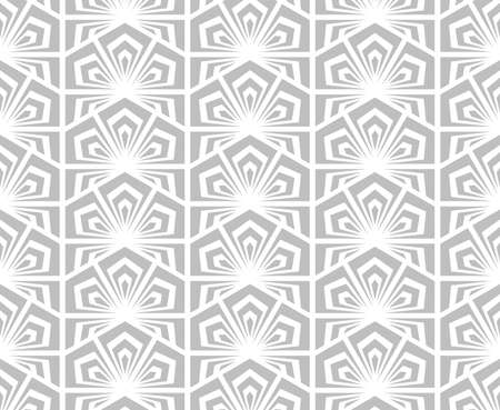 Floral geometric pattern. Wallpaper seamless background. Grey and white ornament. 版權商用圖片